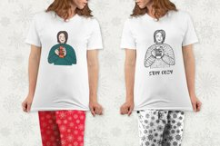 Woman in cozy sweater and 2 snowflakes patterns Product Image 2