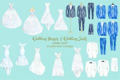 Watercolor wedding outfit on hangers and cloth hooks Product Image 2