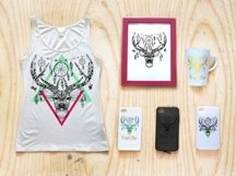 Textured deer in aztec style Product Image 2