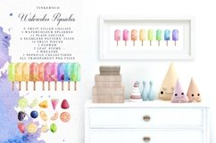 Summer Watercolor Popsicle Graphics Set and Patterns Product Image 4