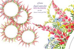 watercolor round frame, 5 wreath with red flowers Product Image 1