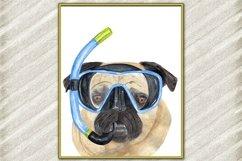Fun Pug art print Cute pets prints Mops poster Funny dog Product Image 1