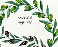 Watercolor olive branches, wreathes clipart, png files Product Image 3