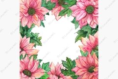 Watercolor pink chrysanthemum green leaf flower composition Product Image 1
