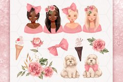 Cute girls. Pink clipart Product Image 2