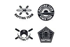 Rafting kayak canoe logo icons set, simple style Product Image 1