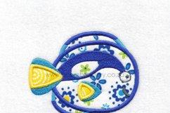 Regal Blue Pet Fish Applique Machine Embroidery Design Product Image 4