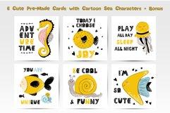Cartoon Sea Animals - vector cards Product Image 2