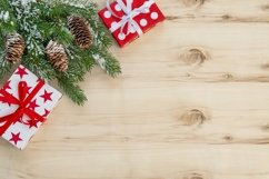 Christmas background gift box pine tree branches Product Image 1