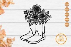 Cowboy Boots Sunflower SVG Product Image 1