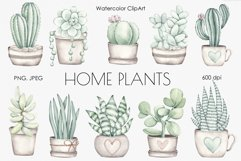 """Watercolor ClipArt """"Home Plants"""" Product Image 1"""