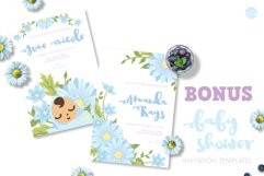 Blue Flower Baby Shower with Invitation Templates Product Image 6