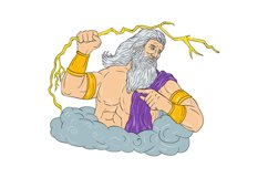 Zeus Wielding Thunderbolt Lightning Drawing Product Image 1