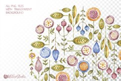 Cute owls clipart. Watercolor collection with floral forest Product Image 11