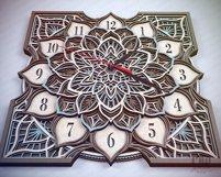 C16 - Laser Cut Wall Clock DXF, Mandala Clock, Wooden Clock Product Image 3