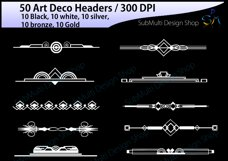 Art deco / art deco headers / art deco header clipart / art deco digital clipart / art deco frames / High Quality / template headers Product Image 5