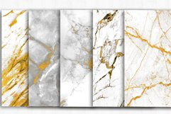 Marble Digital Papers, Gold Black White Marble Backgrounds Product Image 2