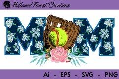 Floral Softball Mom Product Image 1