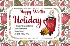Happy winter holiday collection. Patterns,cliparts,postcards Product Image 1