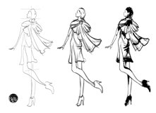 Hand drawn Fashion Sketches. Trendy look girls Product Image 3