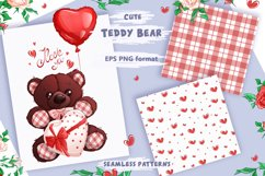 Teddy bear on Valentine's Day. Clipart and patterns. Product Image 2