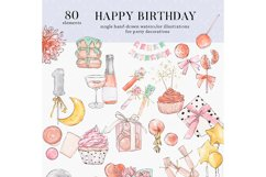 Happy birthday icons set Party Instagram highlight cover PNG Product Image 3