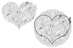 Hearts zentangle for coloring pages Product Image 3