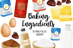Baking Ingredients Watercolour Clipart Product Image 1