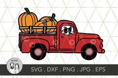 Fall Pumpkin truck with border collie, Cut file Product Image 1