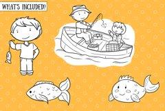 Kids Fishing Digital Stamps Product Image 2