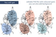 Flowers sublimation, hand drawn lillies PNG Product Image 3