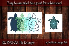 3D SVG Mandala Sea Turtle 4 Layers Cutting File Sublimation Product Image 2