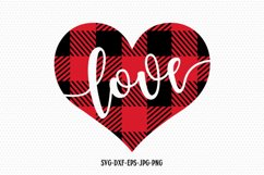 Valentines Day SVG, Love SVG, Plaid Love Heart Product Image 1
