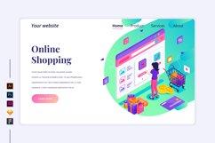 Isometric Online Shopping Landing page illustration Product Image 1