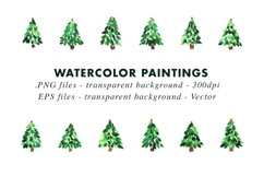 Watercolor Christmas Trees Illustrations Clip Art in EPS Product Image 2