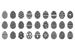 Easter eggs silhouette. Cute easters celebration egg, pascha Product Image 1