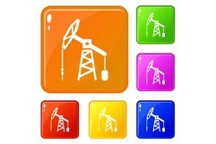 Oil rig icons set vector color Product Image 1