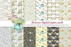 Watercolor Autumn digital paper pack. Cute seamless pattern Product Image 1