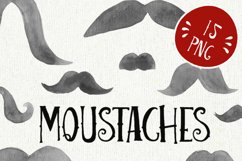 Mustache watercolor clipart, moustache printable, french Product Image 2