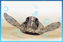 Sea Turtle Mandala Swimming with Bubbles SVG Product Image 4