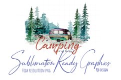 Camping Therapy Watercolour Illustration Sublimation Product Image 1