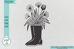 Flowers Wellies Rain boots svg dxf laser paper cut out files Product Image 2