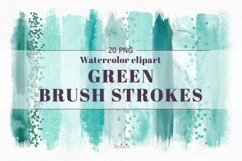 Emerald brush strokes clipart, green watercolor PNG elements Product Image 1