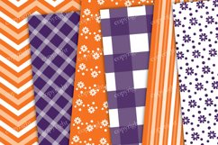Purple and orange chevron, flowers, stripes seamless pattern Product Image 3
