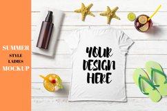 Summer Style Ladies Flat White T shirt Mockup Product Image 1