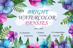 Bright Watercolor Pansies Product Image 1