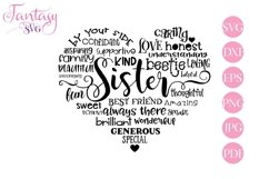 Sister Word Art - Svg Cut Files Product Image 1