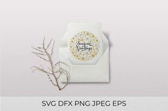 Season's Greetings calligraphy. Gold and silver snowflake Product Image 2