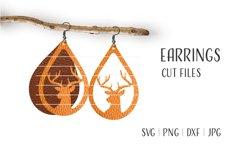 Christmas Deer Earrings Svg, Wood Earrings Template Product Image 1