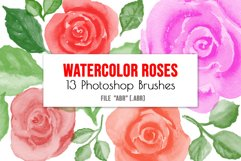 Watercolor roses flowers and leaves Photoshop Brushes Product Image 1